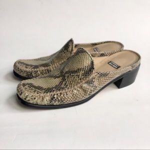 Stuart Weitzman Grigio snakeskin slip on mules